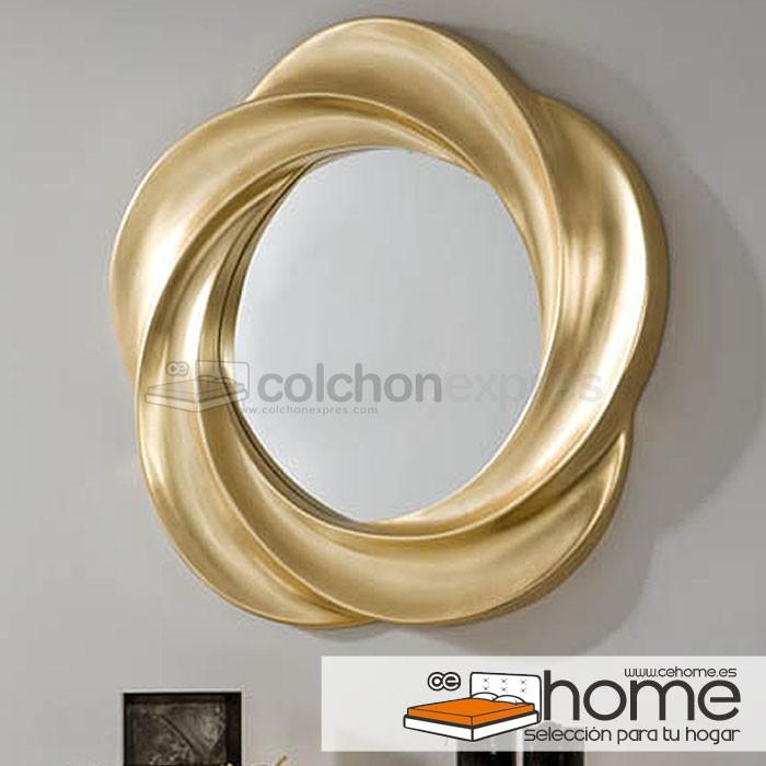 Espejo modelo Flor Gold con marco madera
