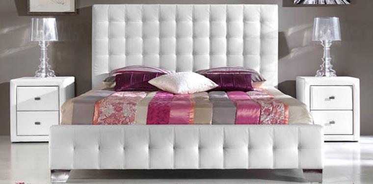 Cama de lujo con cabecero y bancada tapizada polipiel blanco - Cabeceros de cama con fotos ...