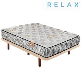 Pack Ahorro Colchón Relax Muelles Ensacados + Base tapizada Tapi-Relax Ares en Beige Patas incluidas