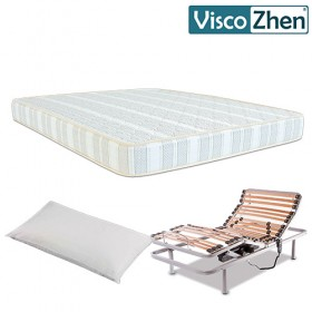 Pack Ahorro Colchón Viscozhen Magic Foam 18 + Cama Articulada Basic + Almohada de Fibra Tacto Pluma