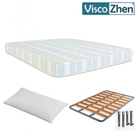 Pack Ahorro Colchón Viscozhen Magic Foam + Somier Chopo + Almohada de Microfibra