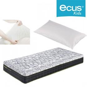 Pack Ahorro Colchón juvenil Ecus Stones con Almohada Chiquitín y Cubre colchón impermeable SmartCel