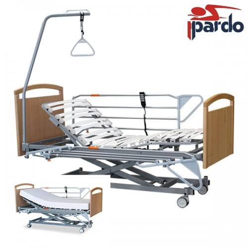 Pack Ahorro Cama Articulada con Carro Elevador Pardo + Barandillas + Colchón Pardo Geros