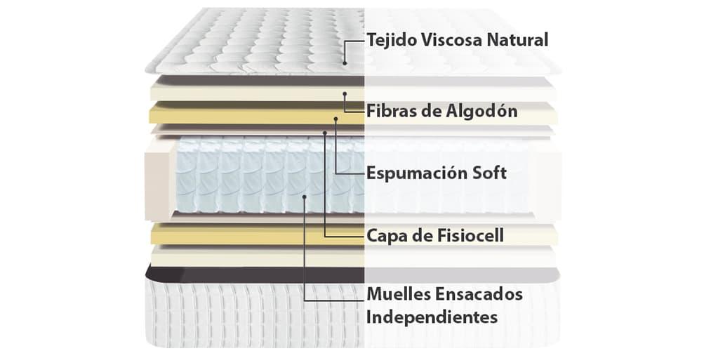 Corte del producto Colchón de Muelles Ensacados y Algodón Viscozhen Senator (Descatalogado)